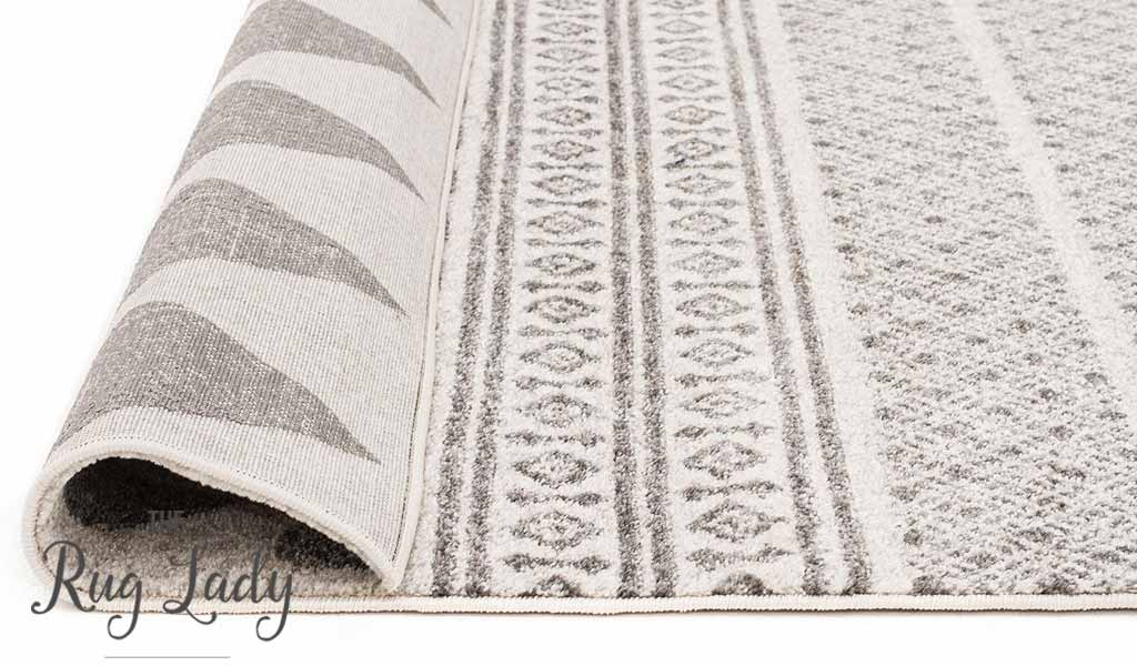 Mystique Grey and White Tribal Imprints Hallway Runner