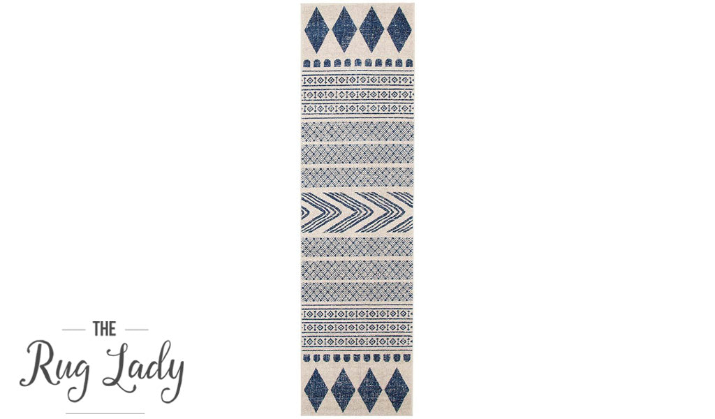 Mystique Navy and White Tribal Imprints Hallway Runner