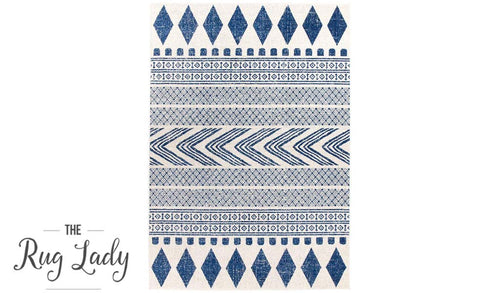 Mystique Navy and White Tribal Imprints Rug