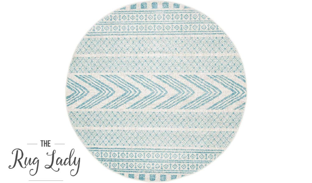 Mystique Light Blue and White Tribal Imprints Round Rug