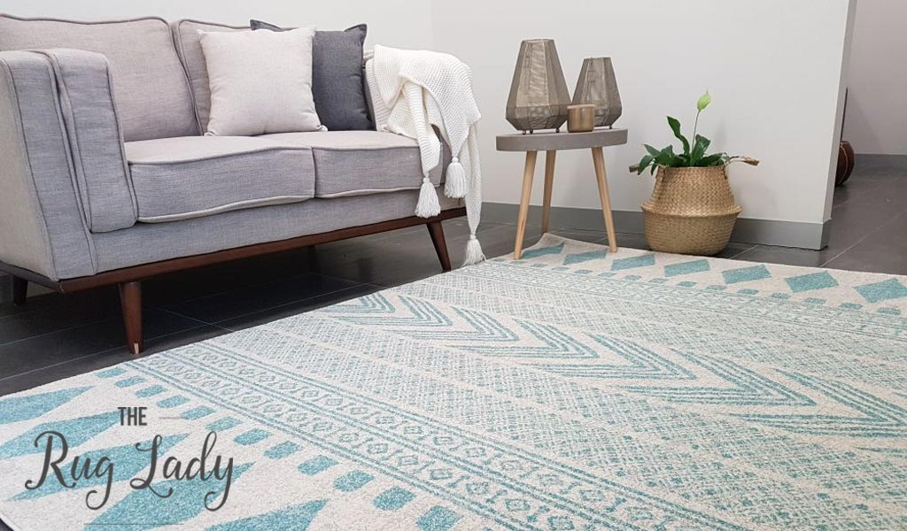 Mystique Light Blue and White Tribal Imprints Rug
