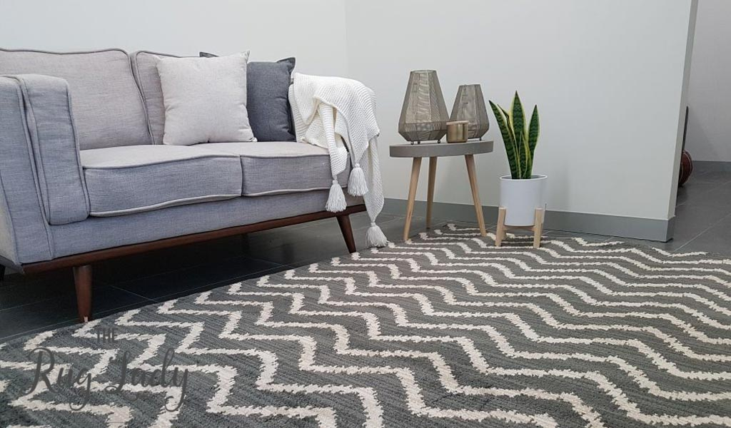 Marrakesh Grey Tribal Zigzag Rug