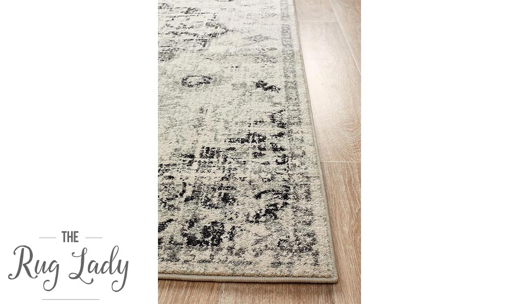 Maya Charcoal Off White Medallion Transitional Hallway Runner