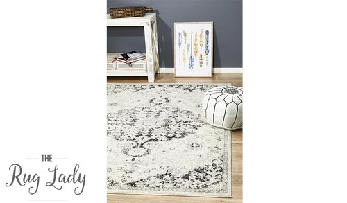 Maya Charcoal Off White Medallion Transitional Rug