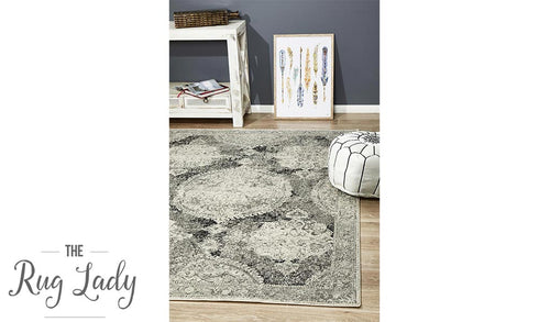 Maya Charcoal Grey Medallion Transitional Rug