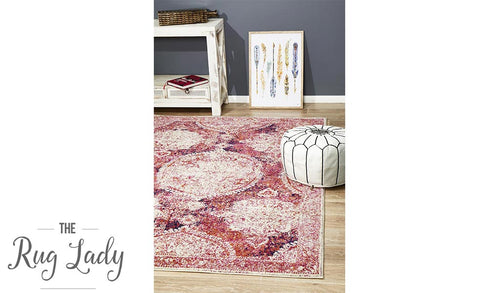 Maya Fuschia Medallion Transitional Rug