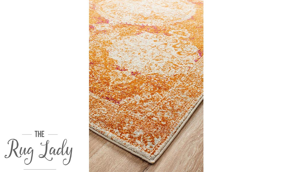 Maya Orange Brown Medallion Transitional Hallway Runner