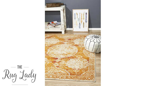 Maya Orange Brown Medallion Transitional Rug