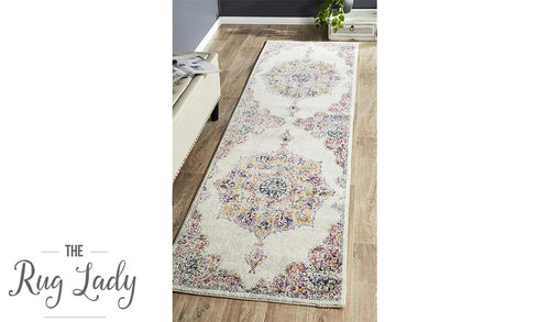 Maya Ivory Medallion Transitional Hallway Runner