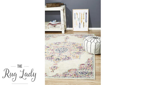 Maya Ivory Medallion Transitional Rug