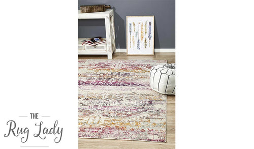 Maya Fuschia Geometric Medallion Transitional Rug
