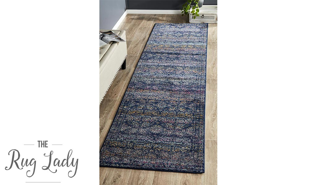 Maya Navy Blue Medallion Transitional Hallway Runner