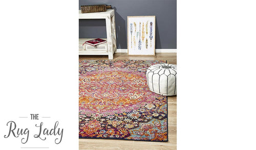 Maya Multi Colour Flower Medallion Transitional Rug