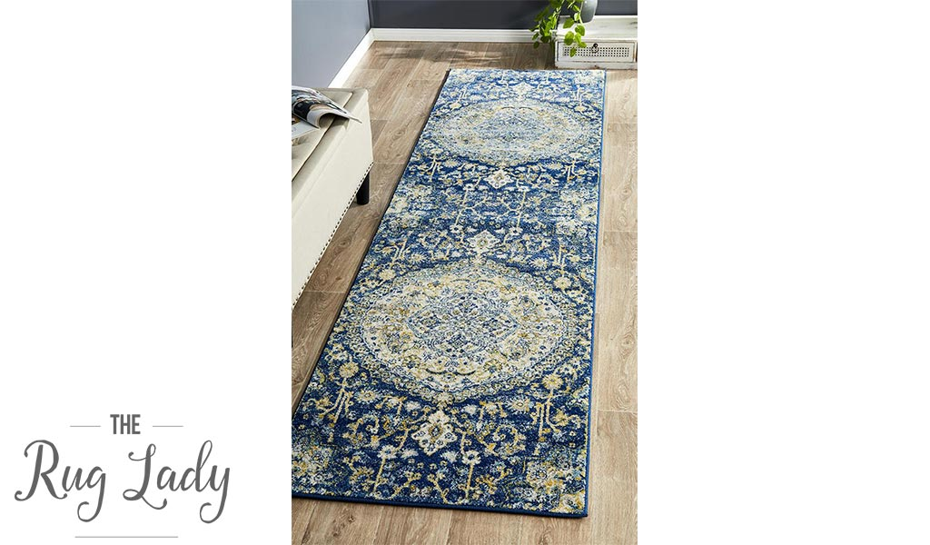 Maya Blue Ivory Flower Medallion Transitional Hallway Runner