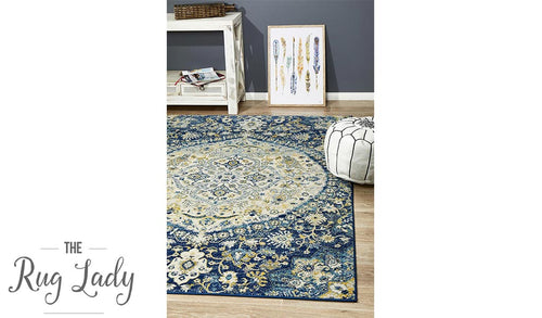 Maya Blue Ivory Flower Medallion Transitional Rug