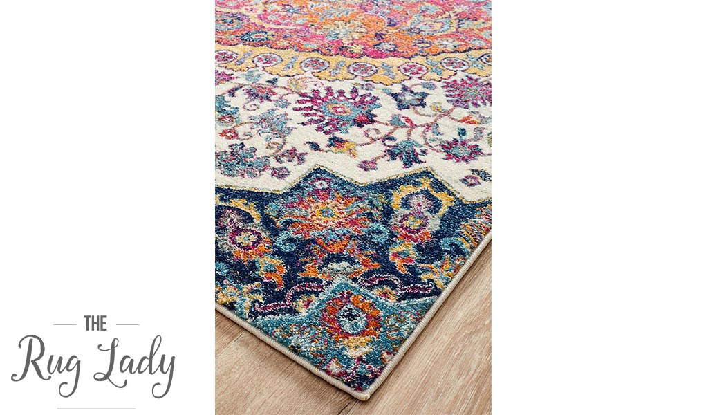 Maya Multicoloured Flower Transitional Hallway Runner