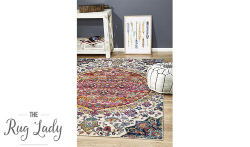 Maya Multicoloured Flower Transitional Rug