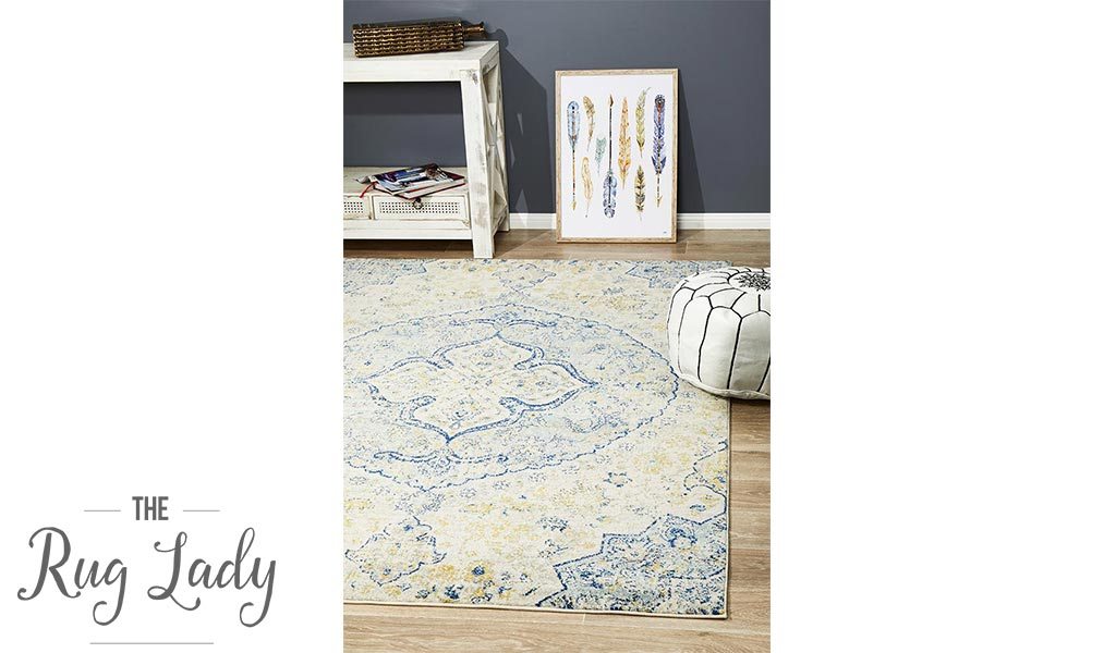 Maya Blue Yellow Over Dyed Transitional Rug