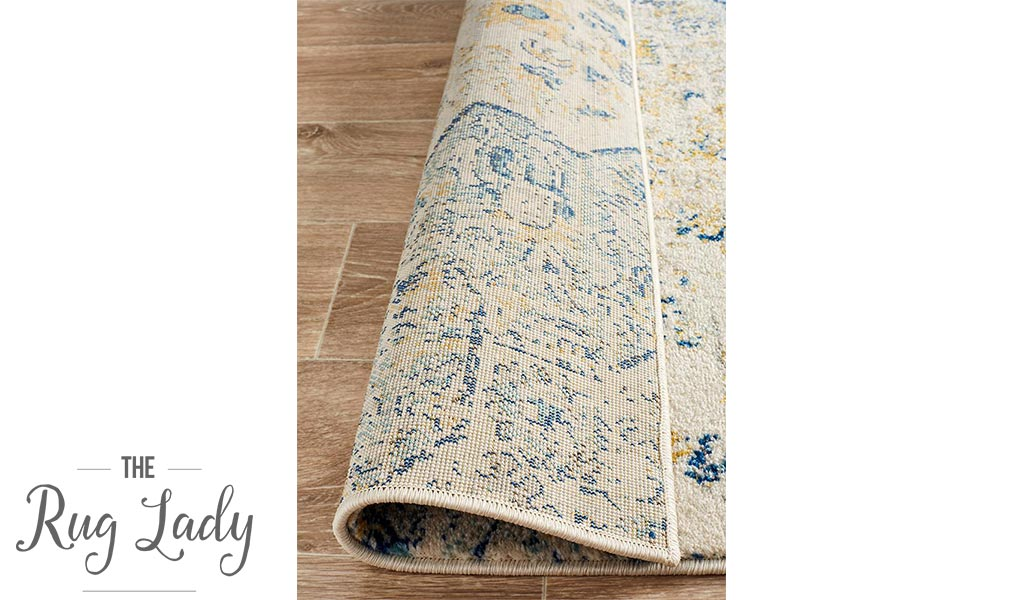 Maya Blue Yellow Over Dyed Transitional Hallway Runner