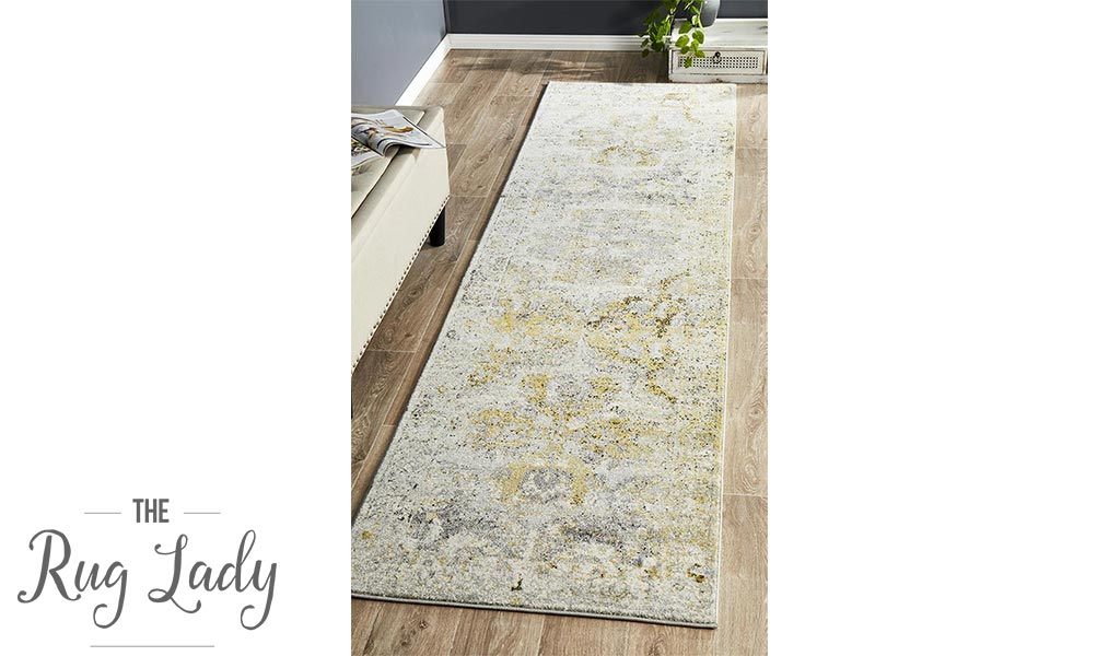 Maya Silver Yellow Over Dyed Transitional Hallway Runner