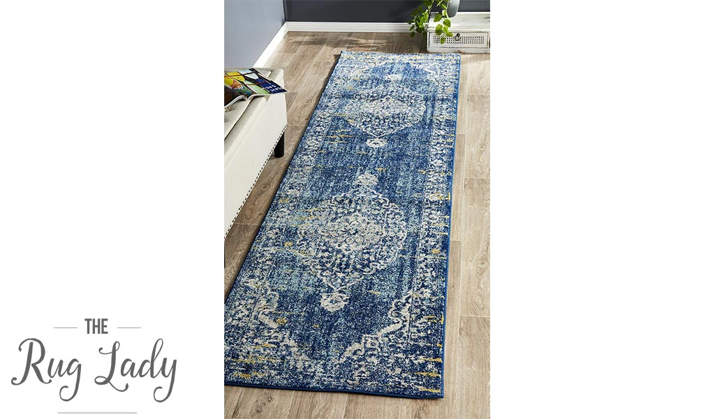 Maya Navy Blue Yellow Medallion Transitional Hallway Runner