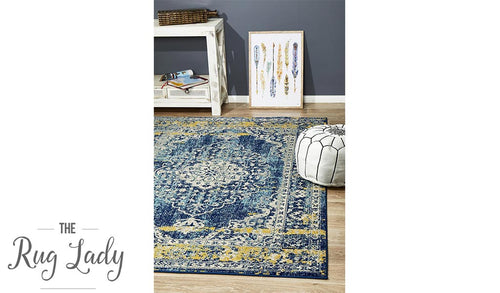 Maya Navy Blue Orange Medallion Transitional Rug