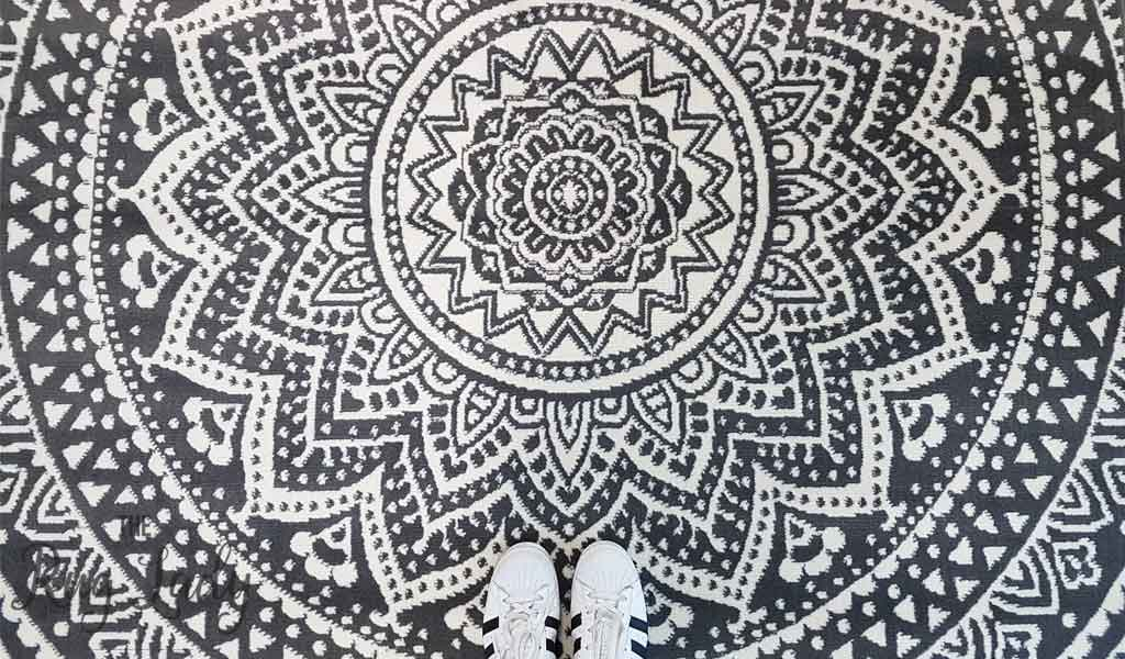 Industry Mandala Grey and Natural White Modern Rugs