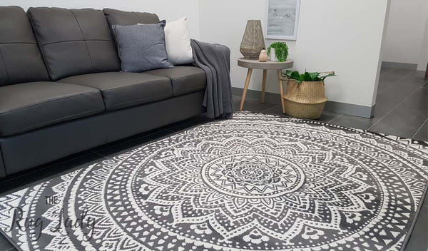 Grey And White Carpet Runner: Industry Mandala Grey And Natural White