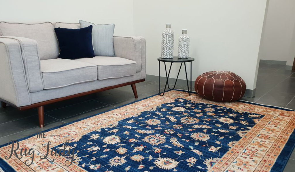 Mahala Blue Oriental Traditional Rug