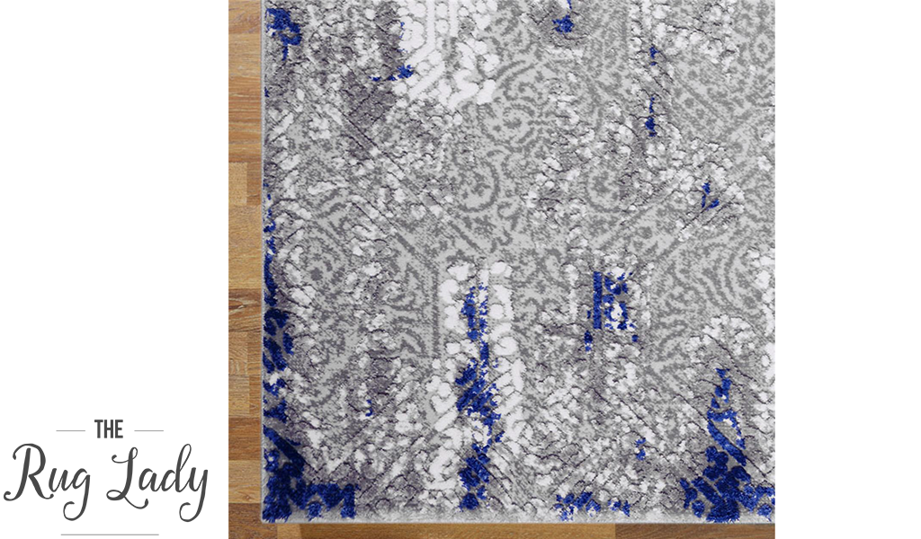 Supreme Grey Blue Textured Abstract Rug