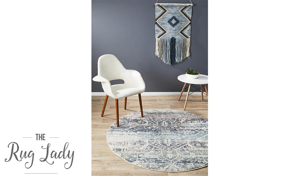 Maya Blue Geometric Medallion Transitional Round Rug