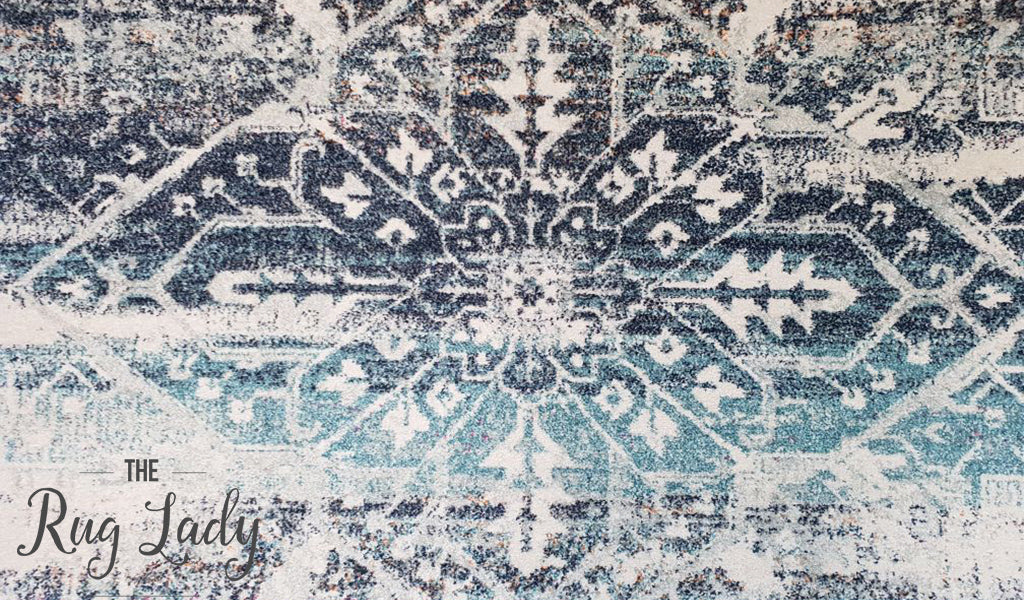 Maya Blue Geometric Medallion Transitional Rug