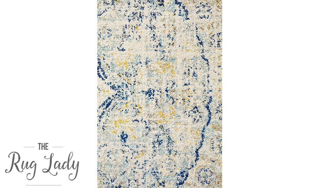 Maya Blue Yellow Over Dyed Transitional Round Rug