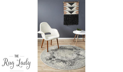 Maya Charcoal Grey Medallion Transitional Round Rug