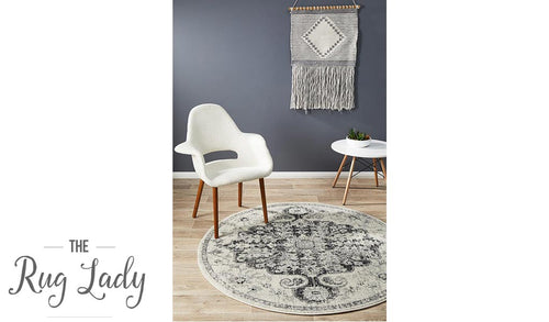 Maya Charcoal Off White Medallion Transitional Round Rug