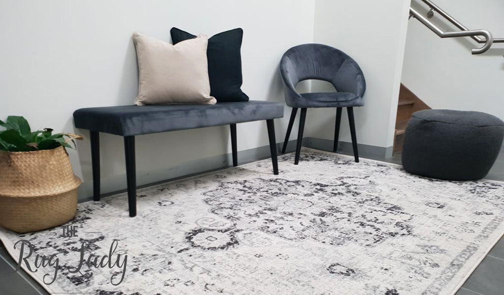 Maya Charcoal Medallion Transitional Rug