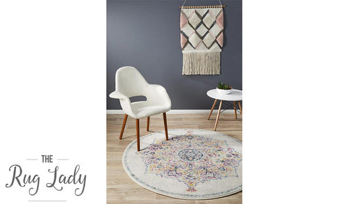 Maya Ivory Medallion Transitional Round Rug