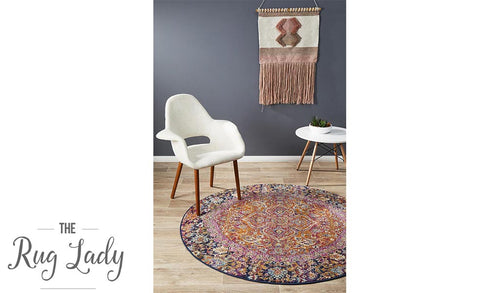 Maya Multi Colour Flower Medallion Transitional Round Rug