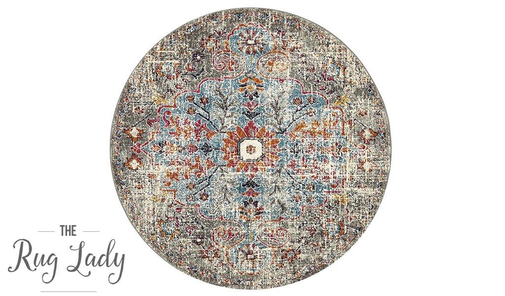 Maya Multi Colour Over Dyed Transitional Round Rug