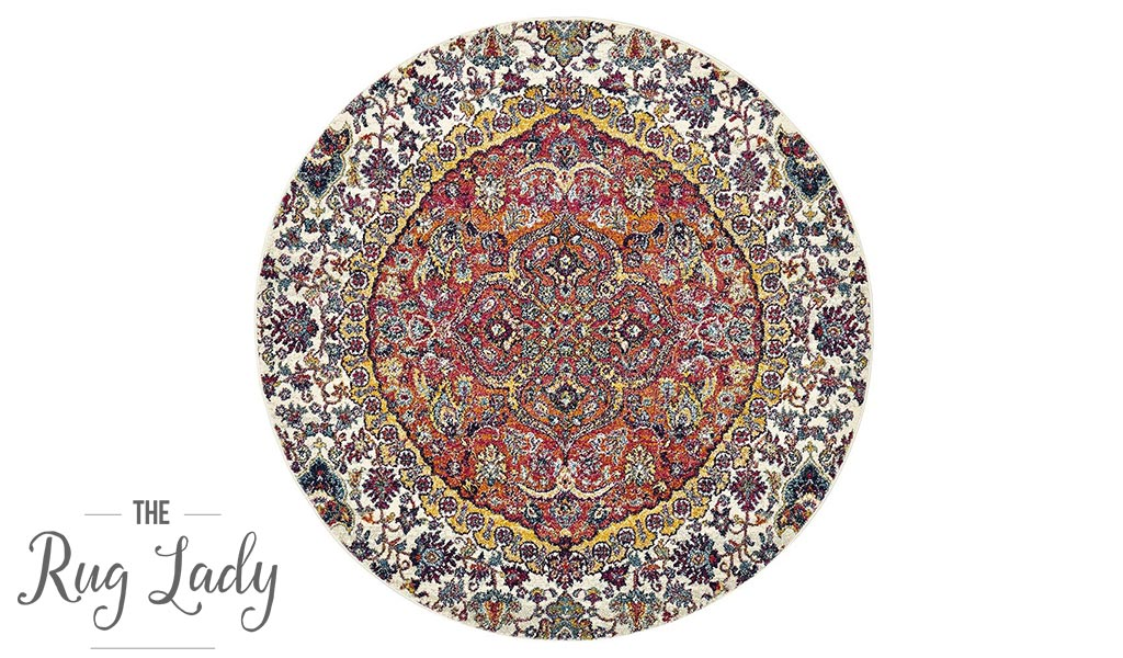Maya Multicoloured Flower Transitional Round Rug