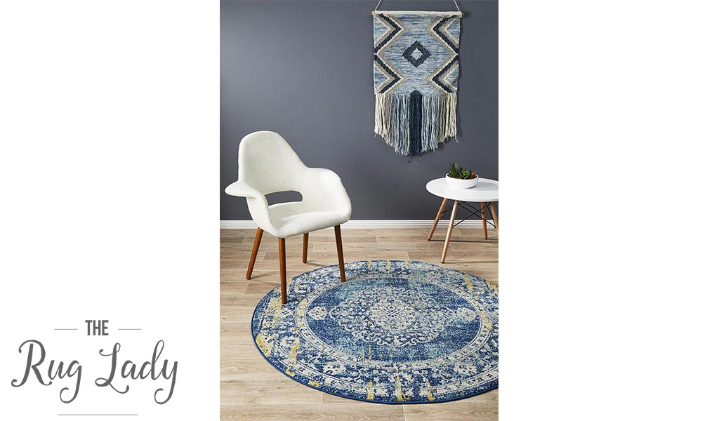 Maya Navy Blue Yellow Medallion Transitional Round Rug