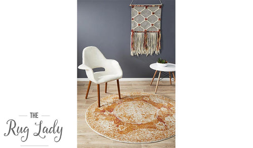 Maya Orange Brown Medallion Transitional Round Rug