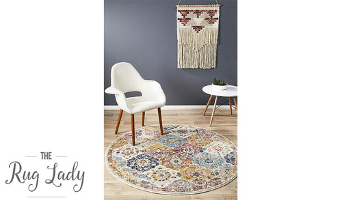 Maya Rust Multicolour Transitional Round Rug