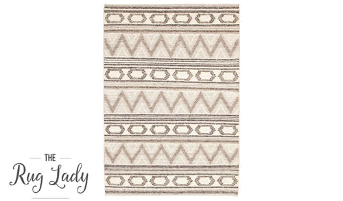 Bohemian Natural Off-White Hand-Loomed Textured Rug