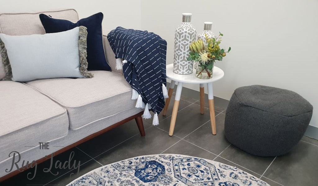 Mystique Grey and Navy Vintage Patterned Round Rug
