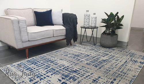Mystique Navy and White Crosshatch Rug