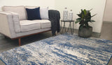 Mystique Blue and White Distressed Abstract Rug
