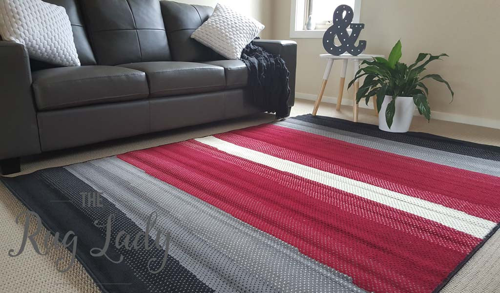 Modern Red Grey Black Stripe