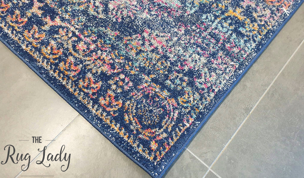 Maya Navy Blue Medallion Transitional Rug
