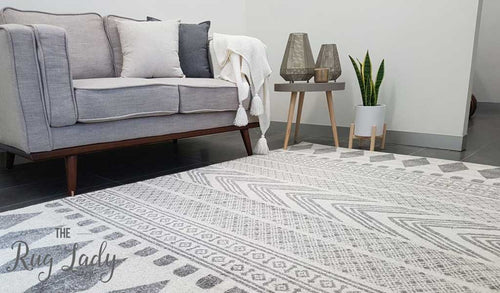 Mystique Grey and White Tribal Imprints Rug